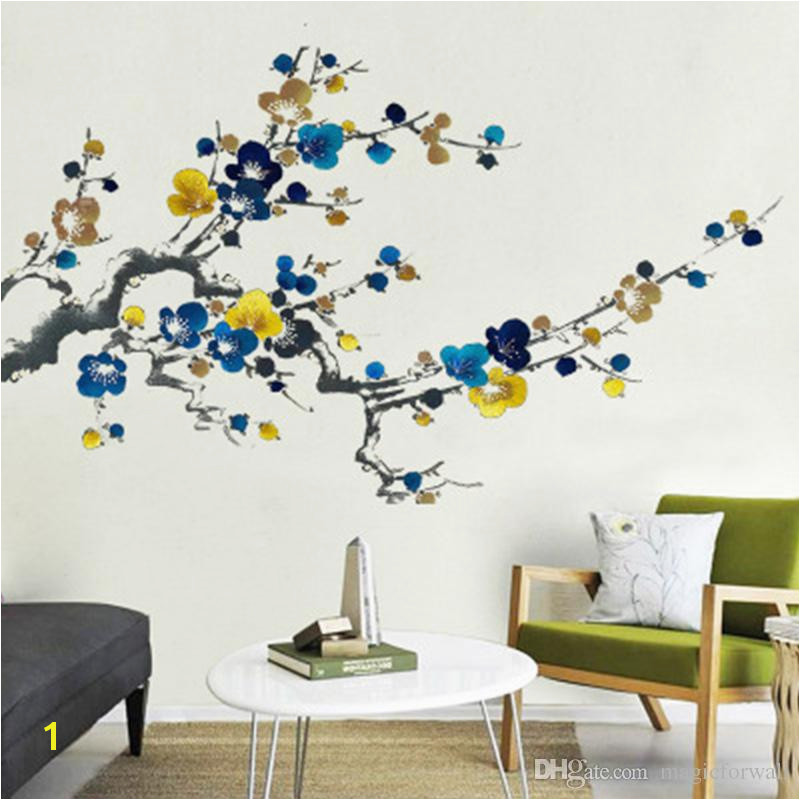 Chinese Style Ink Painting Plum Blossom Flowers Wall Stickers Living Room Bedroom Wall Mural Poster Art