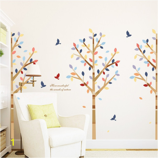colorful tree flying birds wall stickers living room decor vinyl wall decals removable mural art wallpaper modern poster