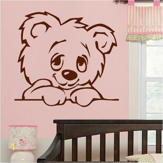 D322 LARGE NURSERY BABY TEDDY BEAR WALL MURAL GIANT TRANSFER ART STICKER POSTER DECAL For Kids Room Nursery Decor