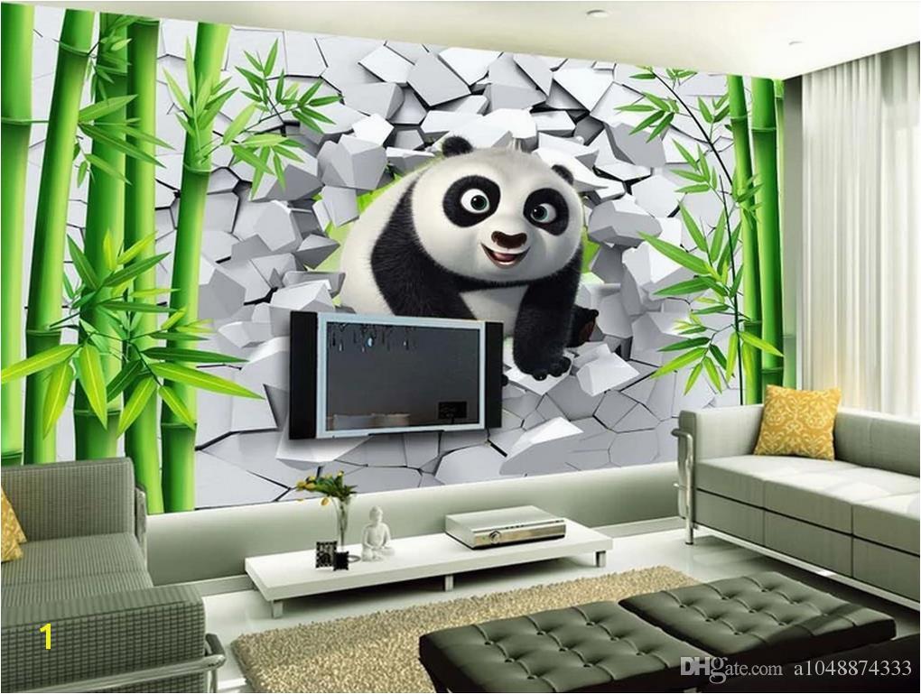 Wholesale Custom 3d Wallpaper For Walls 3d Wallpaper Murals 3D Hole Wall Cute Panda Bamboo TV Background Wall Painting Wall Home Decor Wallpaper