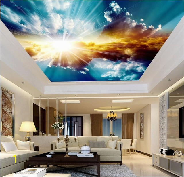 3D Ceiling Murals Wallpaper Blue Sky and White Clouds Living room Bedroom Sky Ceiling Mural Wall papers Home Decor