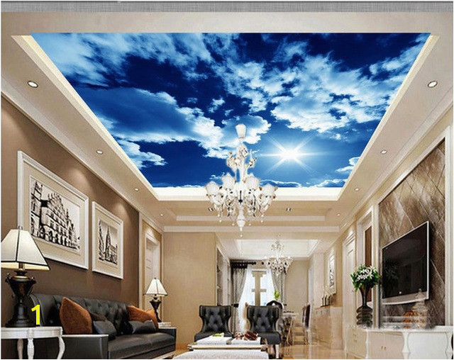 3d customized wallpaper White clouds sky ceiling roof wall murals Home Decoration sky ceiling wallpaper