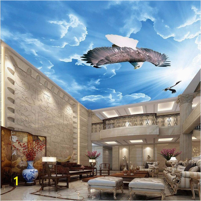 Blue Sky And White Clouds Eagle 3D Ceiling Mural Wallpaper Living Room Bedroom Home Decor Design 3D Ceiling Zenith Mural