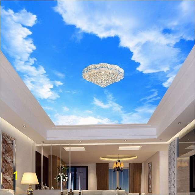 Custom 3D Wallpaper Blue Sky And White Clouds Ceiling Mural Living Room Bedroom Ceiling Background Decoration Painting
