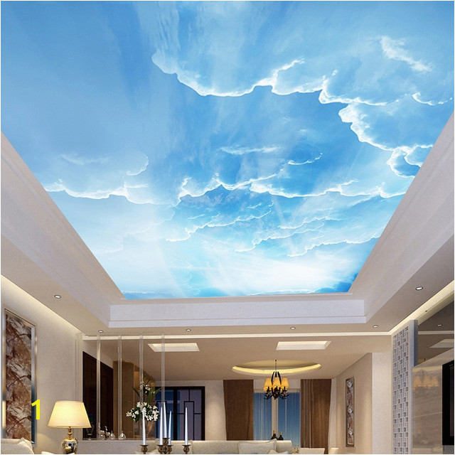 Custom 3D Wallpaper Blue Sky White Clouds Ceiling Wall Murals For Living Room Bedroom Home Decoration Ceiling Wall Paper