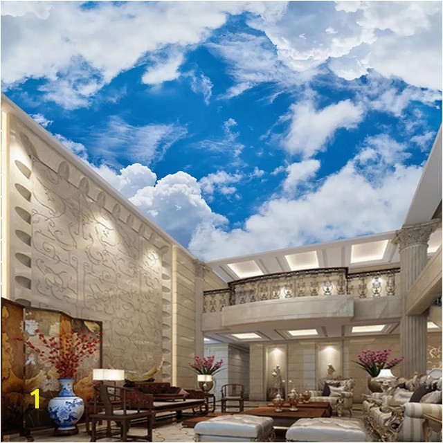 Cloud Murals Ceilings Custom 3d Wallpaper Ceiling Wall Mural Blue Sky and White