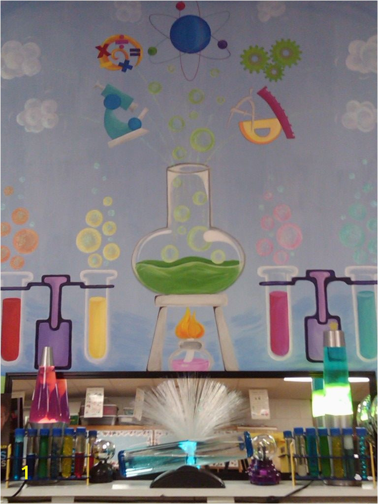 My Science Mural School Murals Art School Science Classroom Decorations Kids Wall Murals