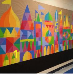 Cityscape Collaboration mural paper shapes on wood lots of ideas here