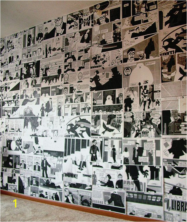 DIY ic Book Graphic Novel Wall regular black and white copy machine to photocopy each page then adhere to wall