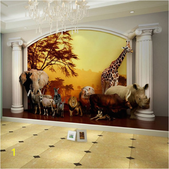 Kids Wall Paper Sunset Forest Animals Nature Wallpaper Mural 3D Children s Room Bedroom Self Adhesive Vinyl Silk Wallpaper