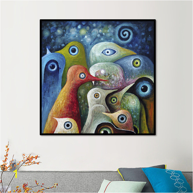 Animal Single Painting Multi color Abstract Square Birds Canvas Print Picture Modern Mural Art Home Living fice Wall Decor