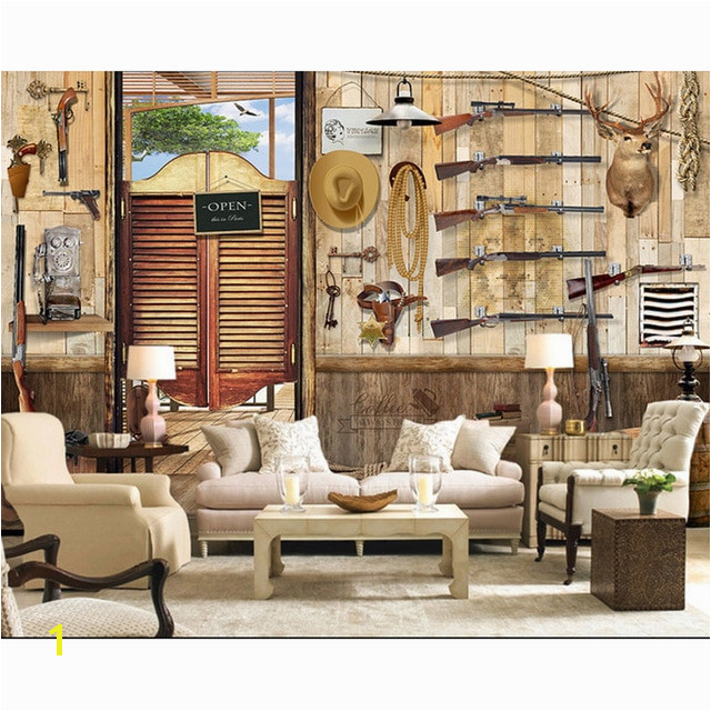 Cowboy Wallpaper Murals Bar Wall Papers 3d Vintage Cowboy Wood House Wall Paper Mural
