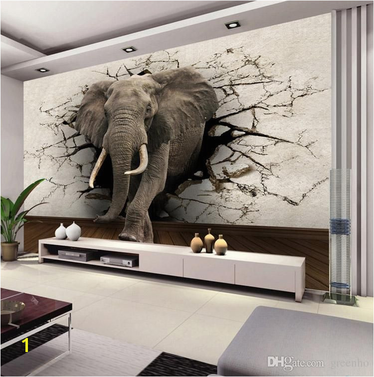 Create Your Own Wall Mural Custom 3d Elephant Wall Mural Personalized Giant Wallpaper