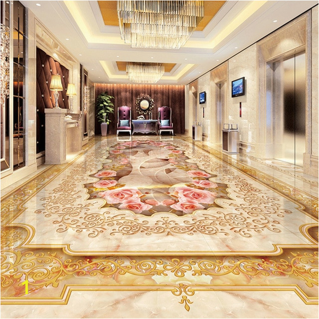 Custom 3D Floor Murals Imitation Marble Flower Pattern Luxury Living Room Hall Floor Tiles Sticker Mural Self Adhesive Wallpaper