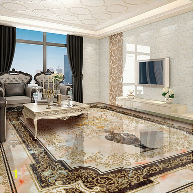Custom Self adhesive Floor Mural Classic European Style Vase Marble Floor Tile Wall Paper Sticker Living Room Papel De Parede 3D