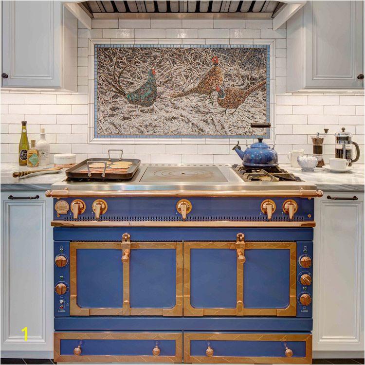 Custom mosaic art mural backsplash in Montclair NJ kitchen Tracey Stephens Interior Design