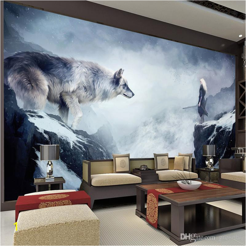 Fantasy Ice World Wolf Wallpaper Animal Wallpaper Custom 3d Wall Murals Bedrooms