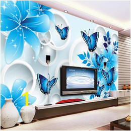 Simple wallpaper 3d mural TV background wall mural living room wall covering blue lily custom wallpaper sofa background wall