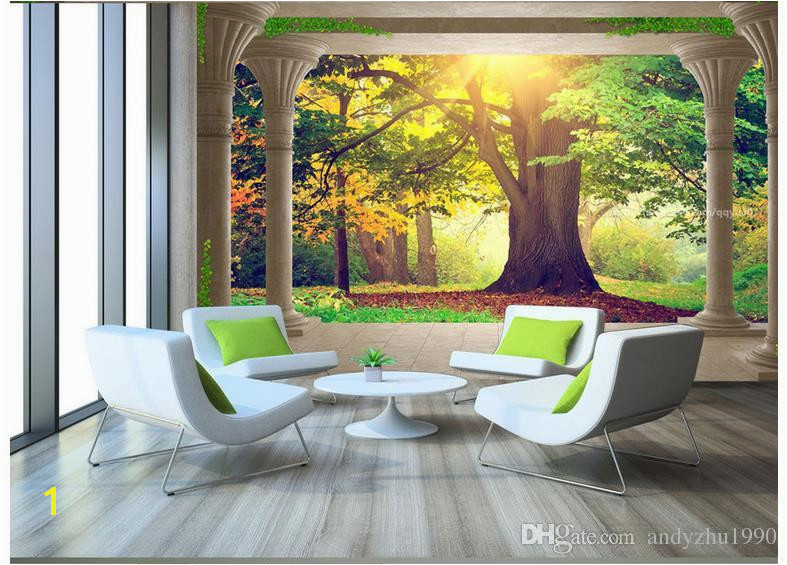 High End Custom 3d Wall Murals Wallpaper Beauty Roman Column Woods Sunny Landscape 3D Background Wall Paper Living Room Wall Decoration Buy Wallpaper Car