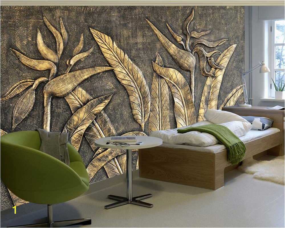Beibehang Custom wallpaper murals golden bird of paradise sculpture wall TV background wall living room bedroom 3d wallpaper in Wallpapers from Home
