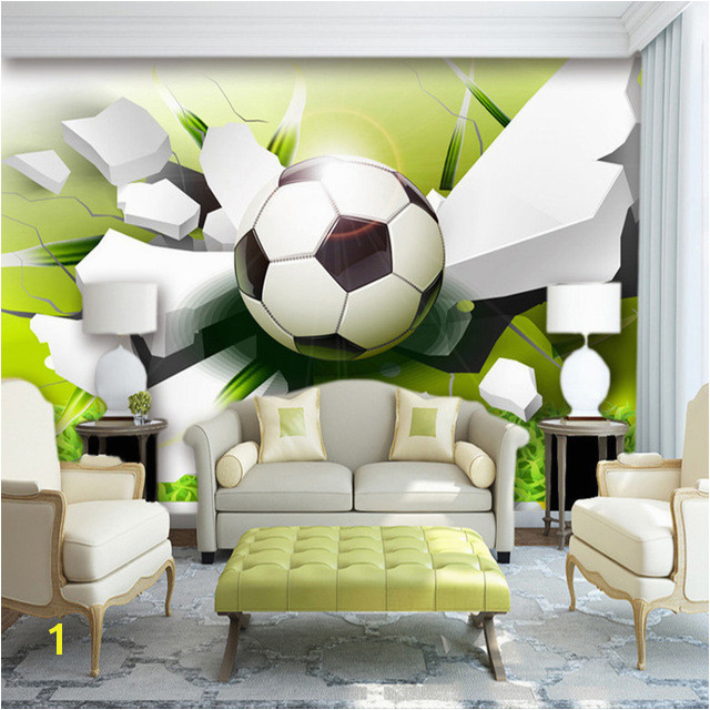 Custom Wall Mural Wallpaper Modern 3D Stereoscopic Football Broken Wall Living Room Sofa Background 3D Wallpaper Non woven