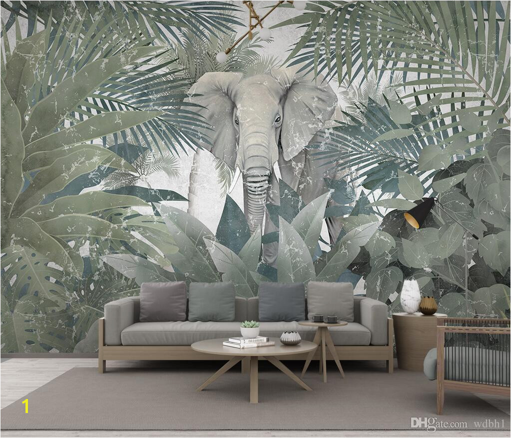 3d Wallpaper Custom Mural Landscape Nordic Tropical Plant Coconut Tree Animal Elephant Landscape TV Murals Wallpaper For Walls 3 D Canada 2019 From