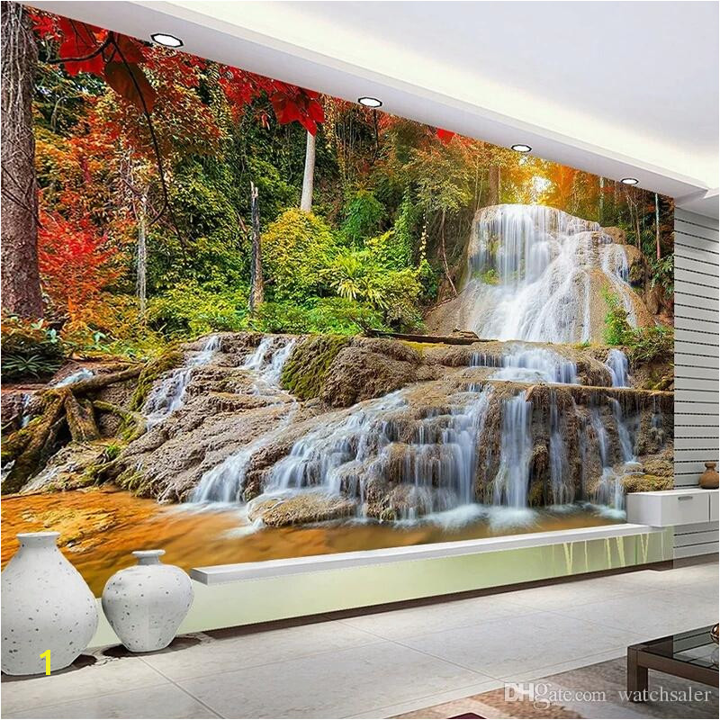 Custom Wallpaper Murals 3D HD Forest Rock Waterfall graphy Background Wall Painting Living Room Sofa Mural Wallpaper Canada 2019 From Watchsaler