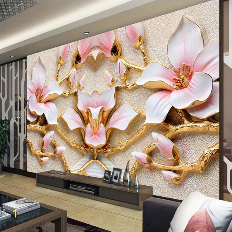 Custom Wall Murals Cheap Custom Wall Mural Wallpaper for Walls Roll 3d Relief Flower Tv