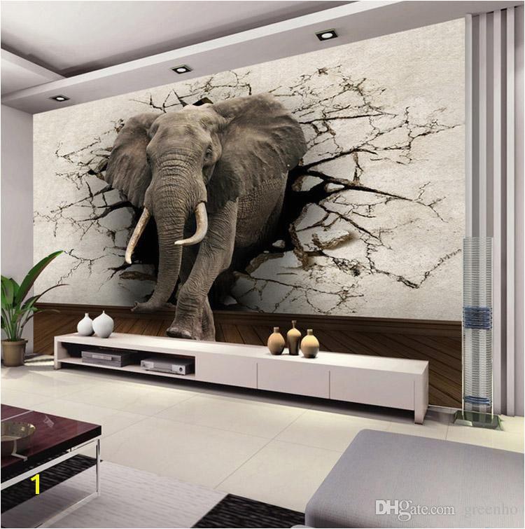 Custom Wall Murals Uk Custom 3d Elephant Wall Mural Personalized Giant Wallpaper