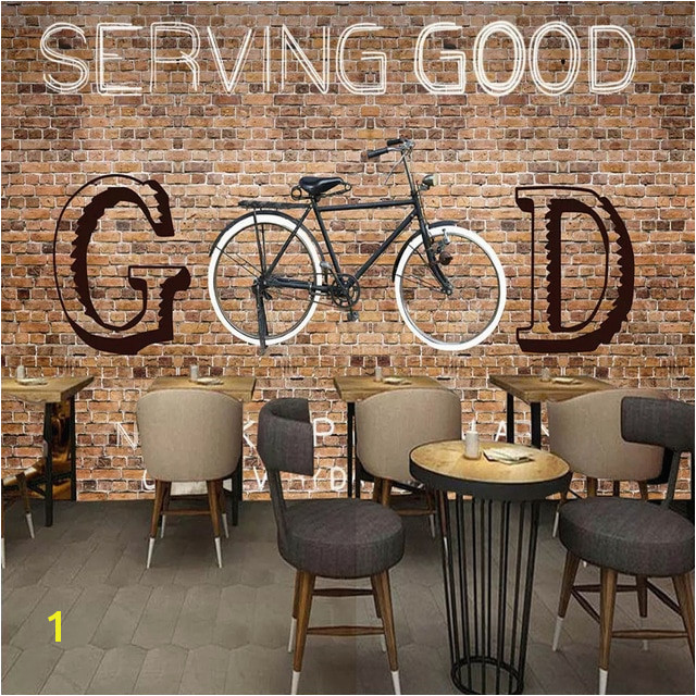 Custom Any Size Murals Wallpaper 3D Brick Bicycle Wall Painting Restaurant Cafe KTV Internet Bar