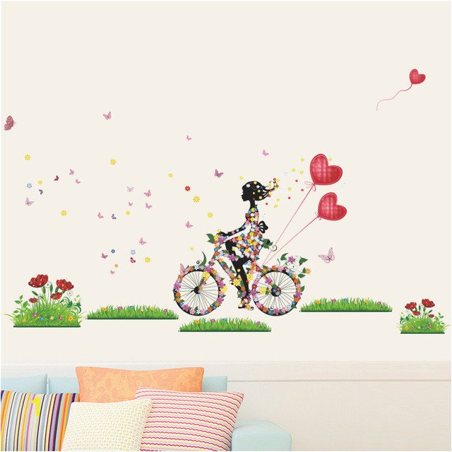 Flower Fairy Wall Stickers For Girls Room Girl Cycling Wall Decals Butterfly Flowers Heart balloon Art Home Decor DIY Mural