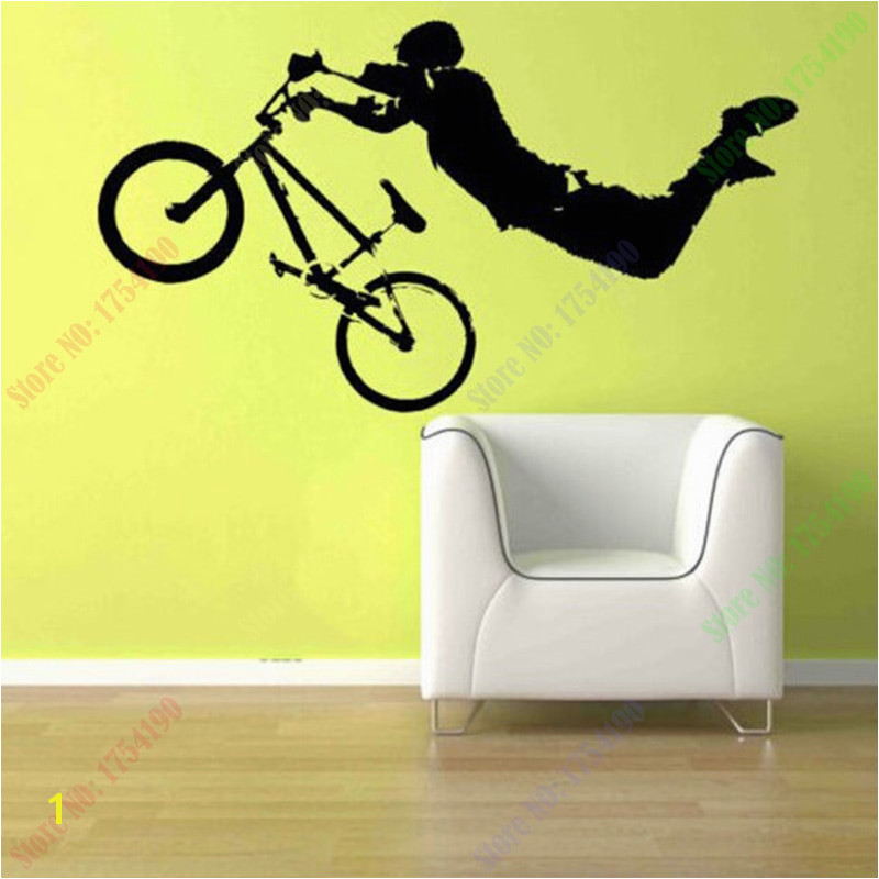 New Boy Giant BMX Bike Bicycle Wall Art Sticker Decal Home DIY Decoration Wall Mural Removable Bedroom Decor Sticker 56x102cm