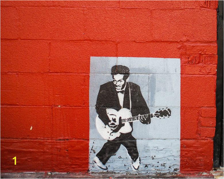 Fine Art Graffiti Stencil Chuck Berry Dallas Texas Deep Ellum Red and Black Graffiti art street photo by Squintphotography on Etsy