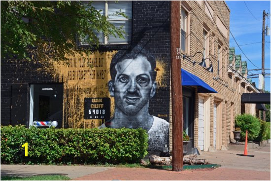 Street mural of Lee Harvey Oswald in the Bishop Arts District