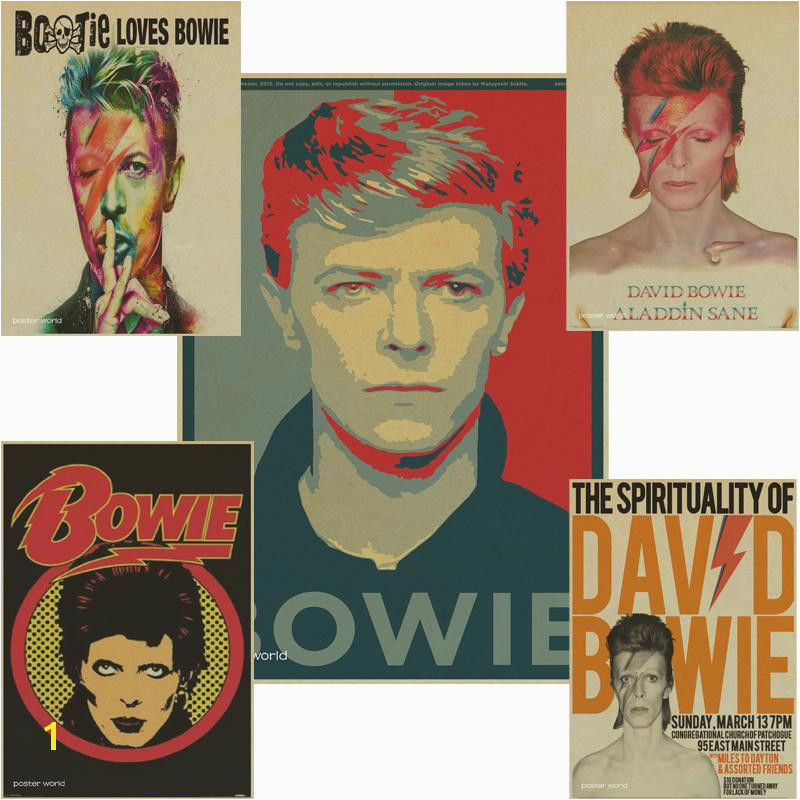 Rock Singer David Bowie Poster Retro Rock Band Music Kraft Paper Vintage Poster Bar Cafe Dining Room Wall Decorative Wall Murals And Stickers Wall Murals