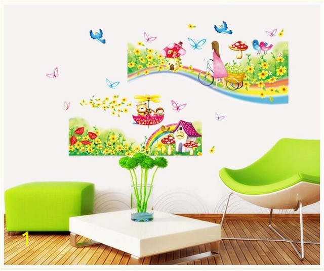 Rainbow Road Wall Stickers for Kids Rooms Daycare Wall Decorations Nursery Decor Children Poster Princess Mural