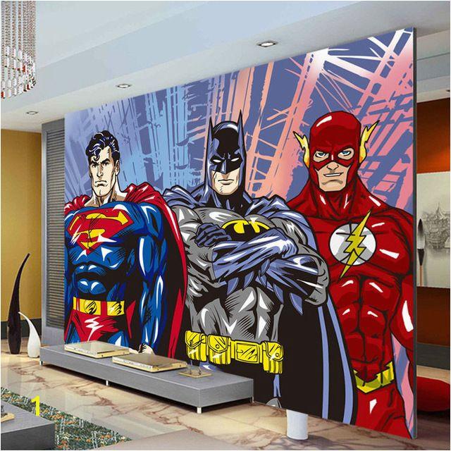 Custom 3D Wall Murals Batman Superman Flash Wallpaper ics photo wallpaper Boys Kids Bedroom Living room Room decor Superhero