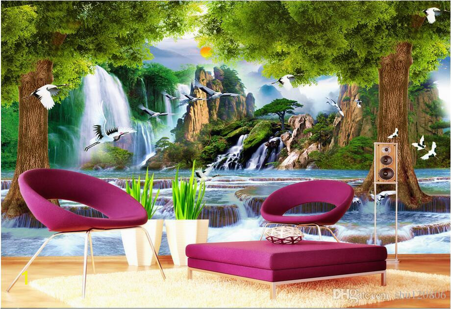 3d Wallpaper Custom Non Woven Mural Water The Tree Crane Decoration Painting 3d Wall Murals Wallpaper For Walls 3 D Living Room Wallpaper Desk