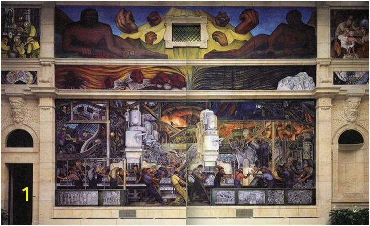 Detroit Industry North Wall by Diego Rivera Muralism genre painting Detroit Institute