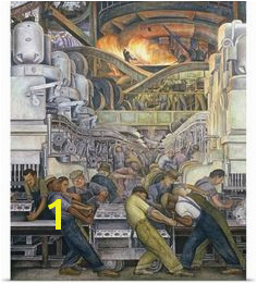 Diego Rivera Poster Print Wall Art Print entitled Detroit Industry North Wall 1932 33 None