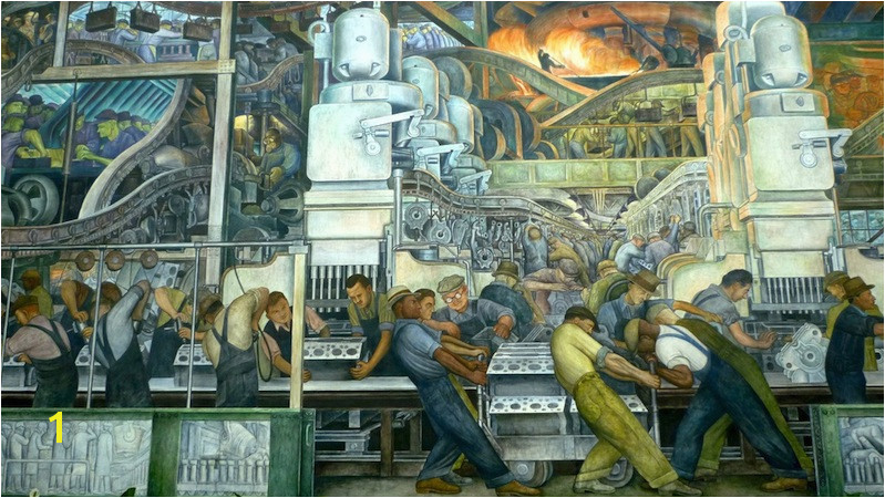View of north wall detail Diego Rivera Detroit Industry murals Detroit