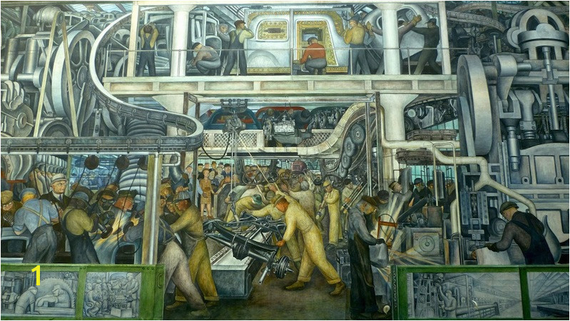 View of south wall detail Diego Rivera Detroit Industry murals Detroit