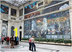 "Partial view of Diego Rivera s ""Detroit Industry"" murals located in the Rivera Court at the Detroit Institute of Arts by Mark Vallen ©"