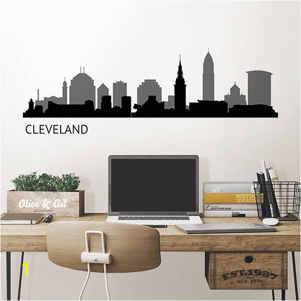 Detroit Skyline Wall Mural Cleveland Cityscape Wall Decal Art Kit by Wallpops