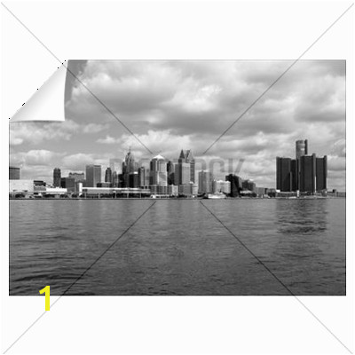 Detroit Skyline BW Wall Decal