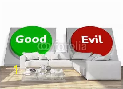 Wall mural Good Evil Buttons Show Goodness Devil