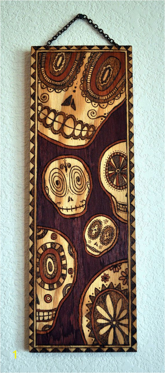 Day of the Dead Sugar Skulls wood burned wall by ARTholomew $300 00