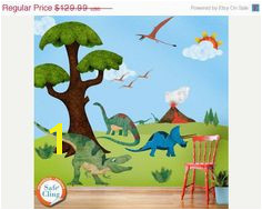 SALE TODAY Dinosaur Wall Stickers Decals for Dinosaur Theme Room Wall Mural JUMBO Set