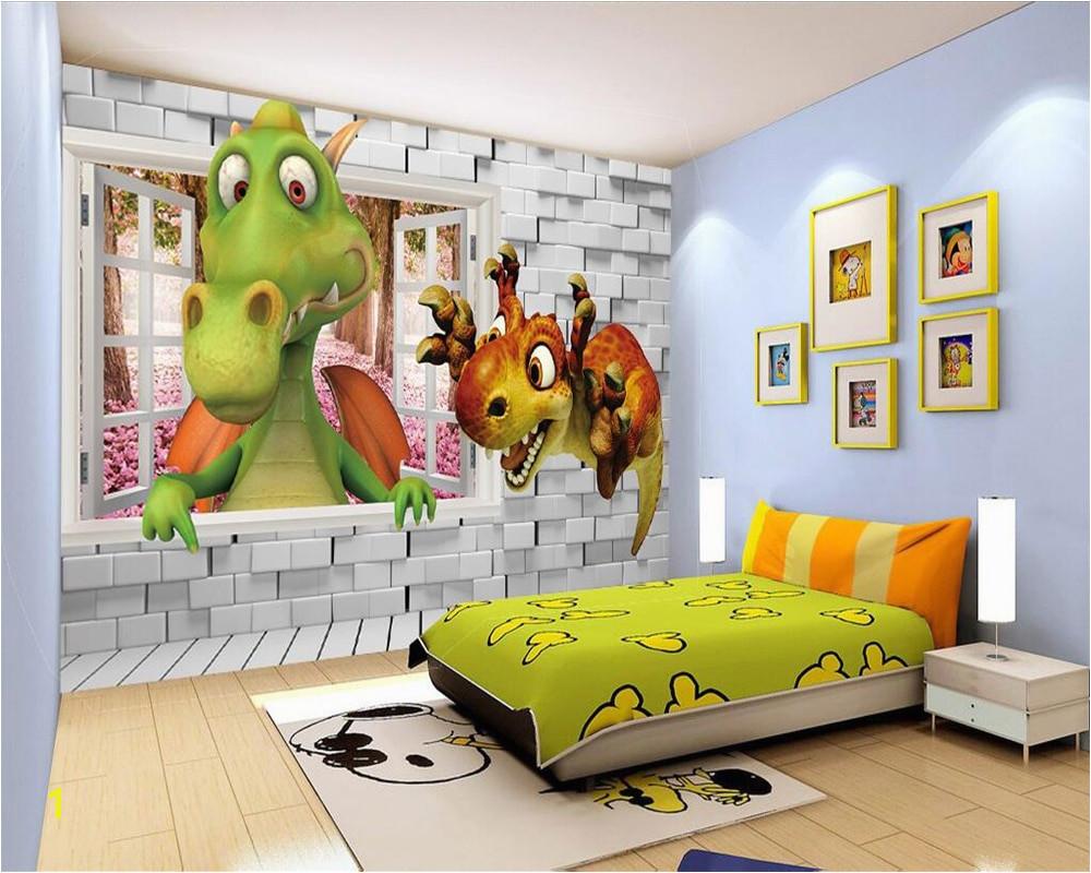 Dinosaur Murals Bedroom Beibehang Custom Wallpaper Kids Room Backdrop Wall 3d Dinosaur