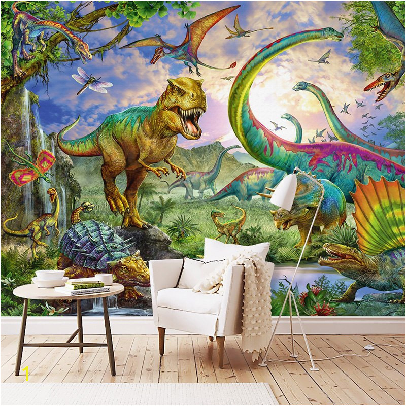 Wallpaper 3D Stereo Dinosaur Animal World Murals Children s Bedroom Cartoon Background Wall Painting Wall Paper For Walls in Wallpapers from Home